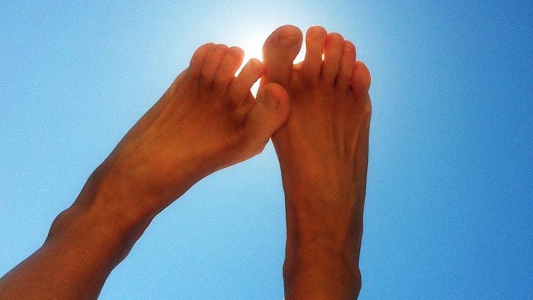 Barfotafötter i solen.