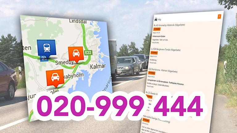 Trafikkarta. 020-999 444