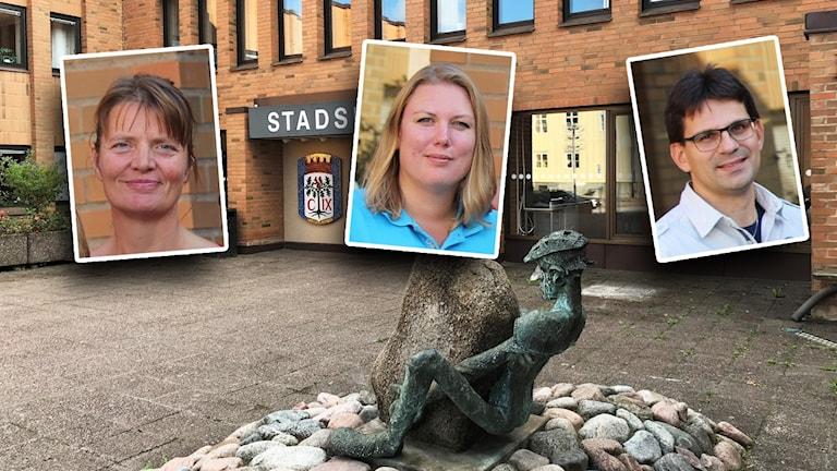 Inklippta bilder på två kvinnor och en man framför Vimmerby kommunhus.
