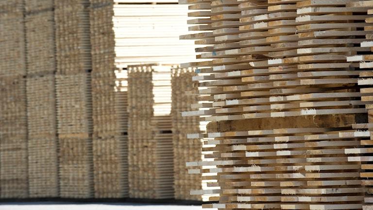 Plankor på ett sågverk