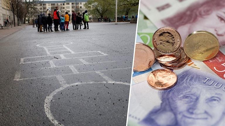 Bildsplitt med en skolgård och svenska sedlar och mynt.