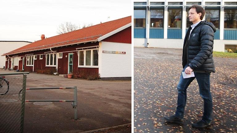 Skolbyggnad och Daniel Hjertqvist.