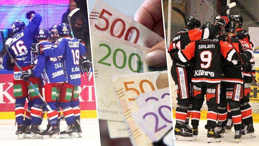 Montage med två jublande hockeylag och pengar.