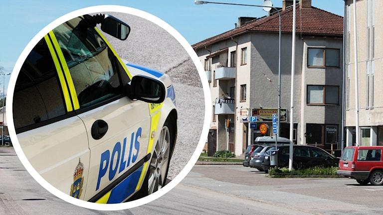 Polisbil och gata.