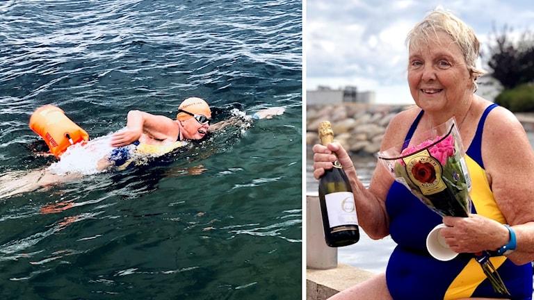 Till vänster en kvinna som crawlar, till höger samma kvinna med en flaska bubbel och en blomsterbukett.