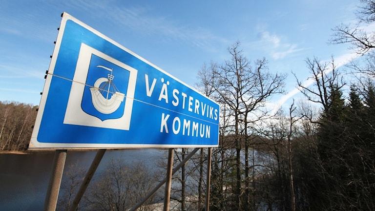 Vägskylt: Västerviks kommun.