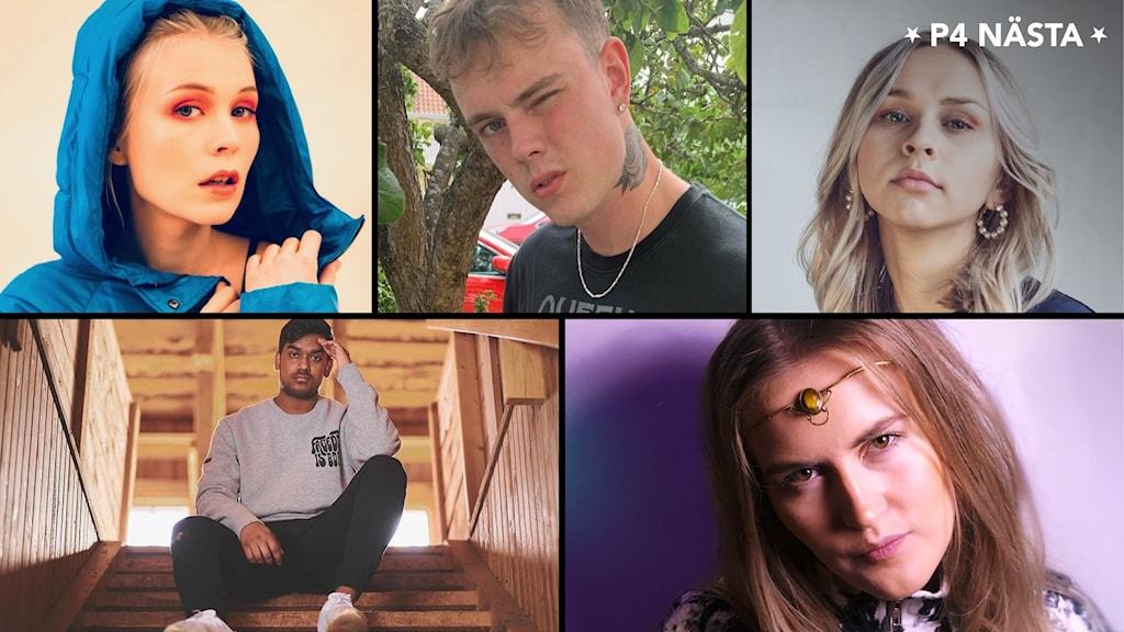 Porträttbilder på artister. Tre kvinnor och två män.