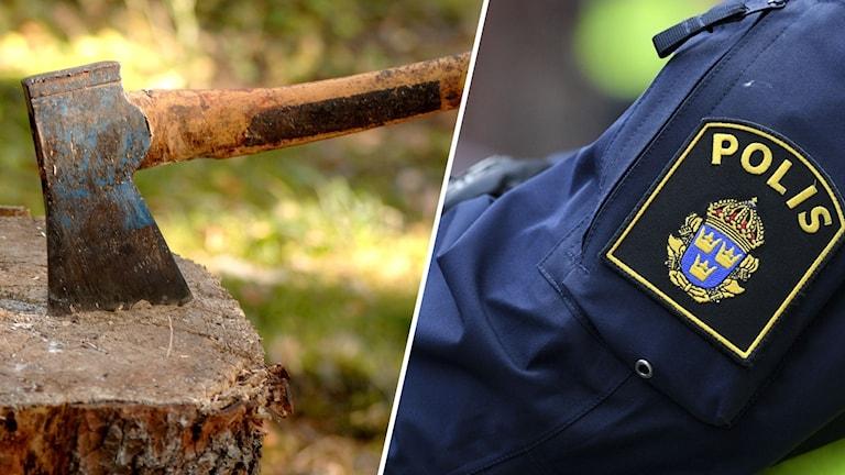 Bilden till vänster är en yxa i en stubbe och bilden till höger är en Polis-logga.
