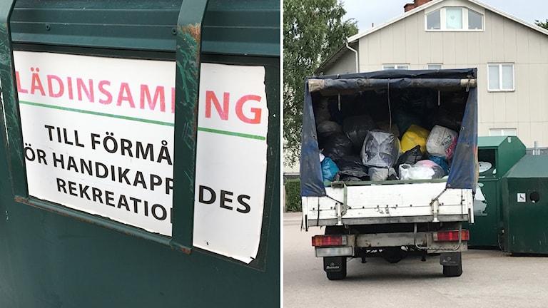 """Skylt på container med texten """"Klädinsamling till förmån för handikappades rekreation"""" bredvid en lastbil."""