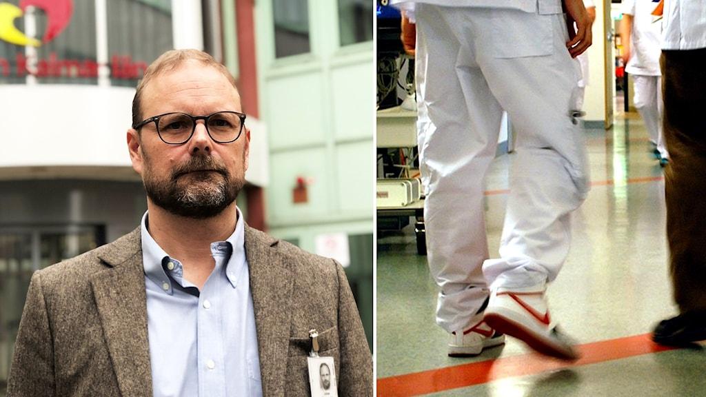 Johan Rosenqvist och vårdpersonal.