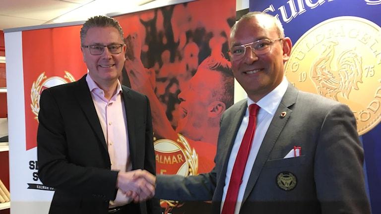 Peter Andersson vd Guldfågeln och Kalmar FFs ordförande/klubbchef Mattias Rosenlund