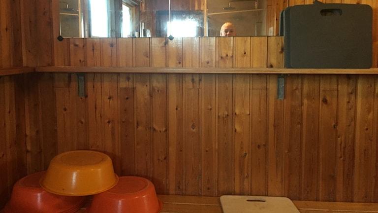 Tvättrummet i bastun i Vimmerby Erika i bild.