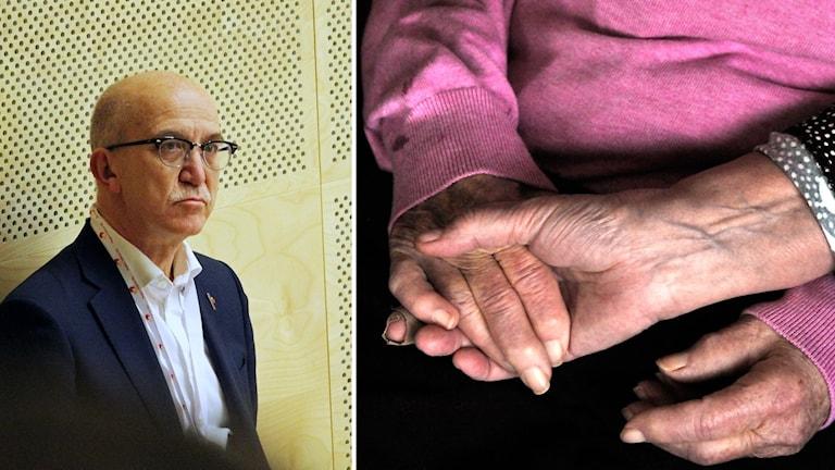 Anders Henriksson bredvid händer som håller om varandra.