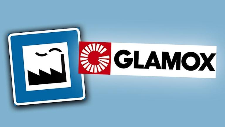 Skylt där det står Glamox.