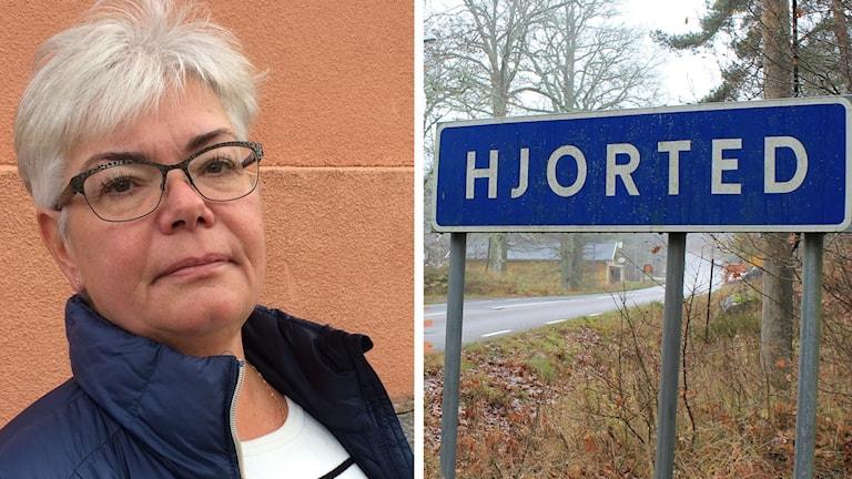 Monia Ålstam och vägskylt där det står Hjorted.
