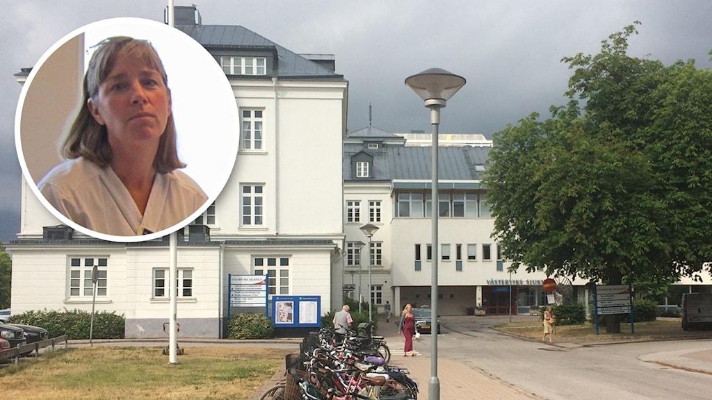 En bild på en vit sjukhusbyggnaden. Infälld porträttbild på kvinna i läkarrock.