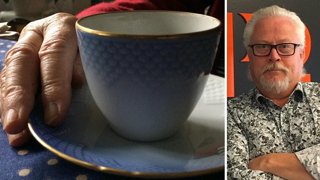 Kaffekopp och bild på Lennart Palm.