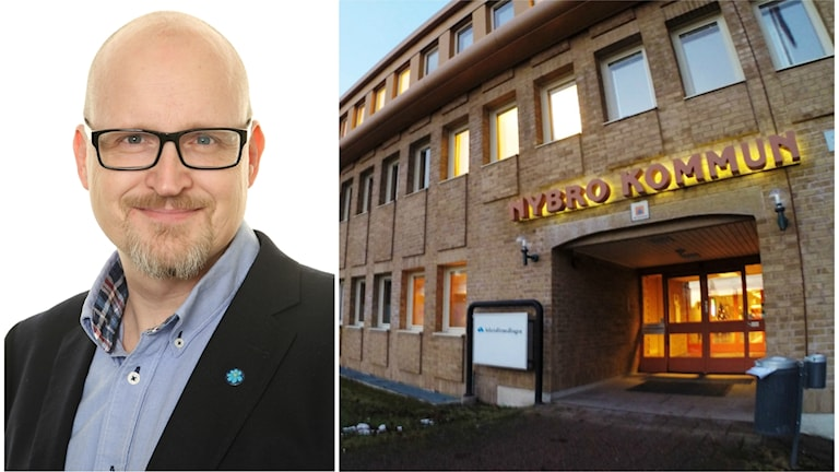 Sverigedemokraten Johnny Svedin och en bild på kommunhuset i Nybro.