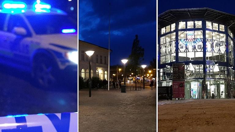 Polisbil och bilder på centralstationen och Baronen i Kalmar
