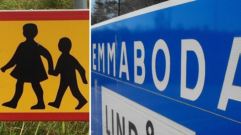 Skylt med barn på och vägskylt i Emmaboda.