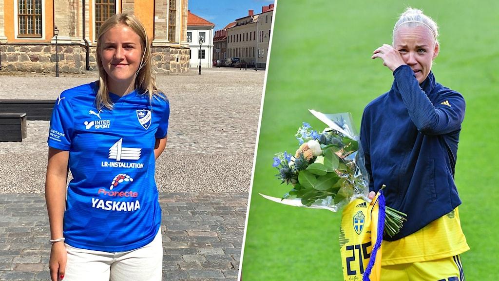 En bildsplit på en yngre kvinna som står på Stortorget i Kalmar och ler mot kameran. På den andra bilden syns en kvinnlig fotbollsspelare med en blombukett i handen, hon torkar också en tår med handen.