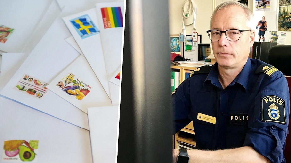 Bild på frimärken och en polis som sitter vid en dator.