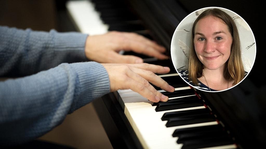 En person spelar piano och närbild på en person.
