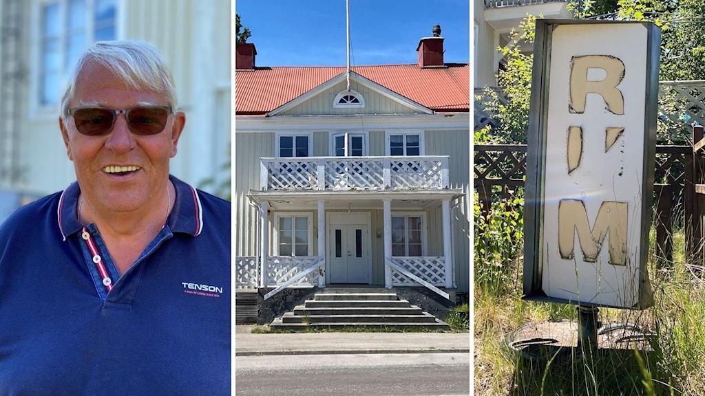 """Tre bilder i en. En man med blå skjorta och solglasögon, ett trähus med tegeltak och en sliten skylt med texten """"rum""""."""