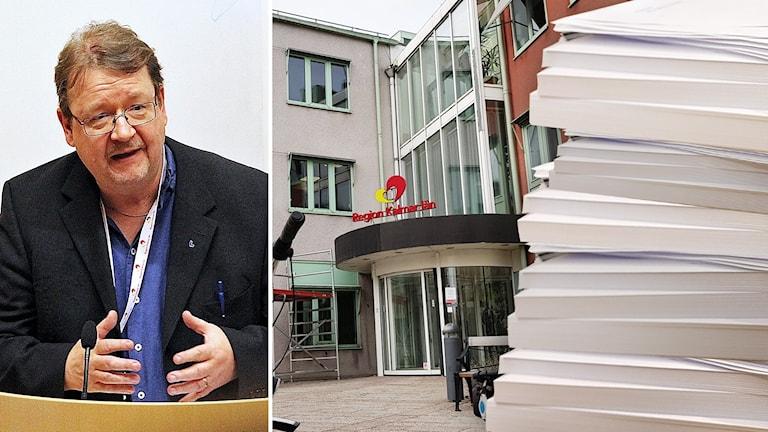 Pierre Edström och pappershög. Kollage.