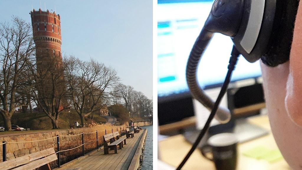 Kalmars gamla vattentorn och telefon-headset.