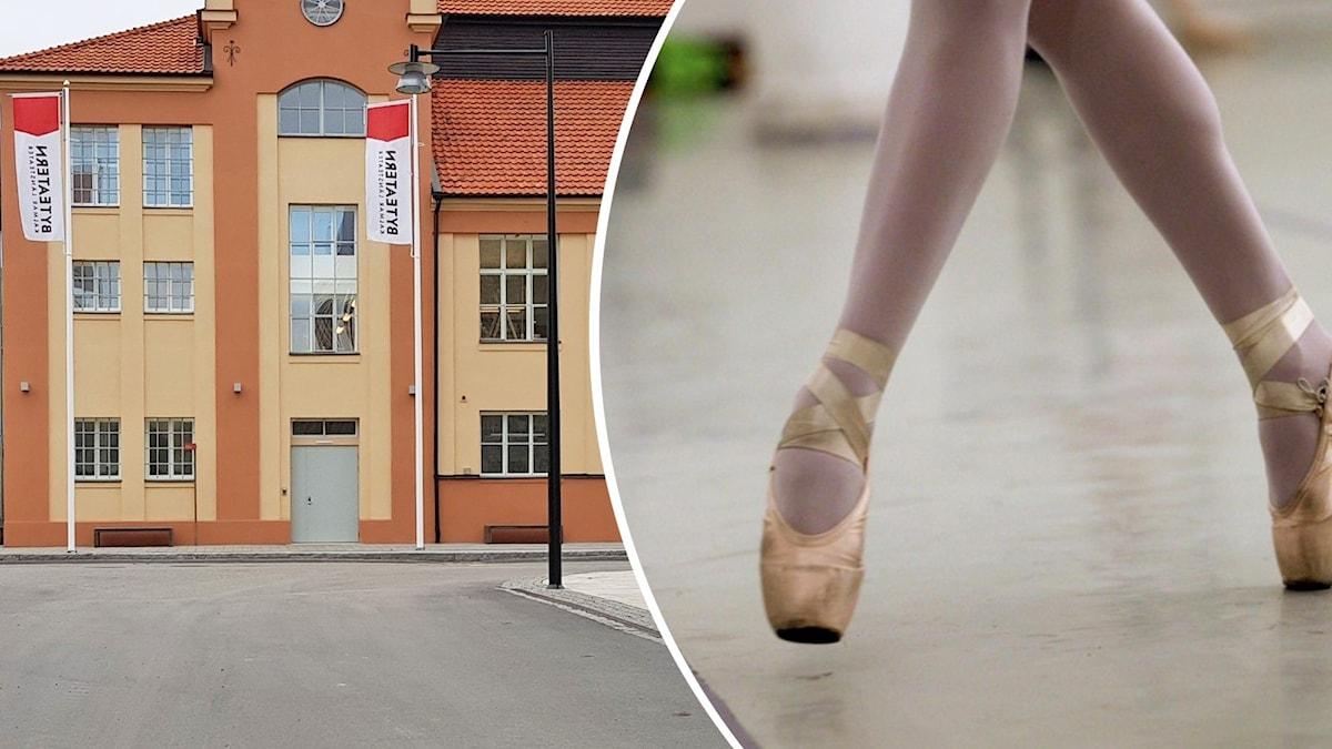 En byggnad och två fötter med balettskor.
