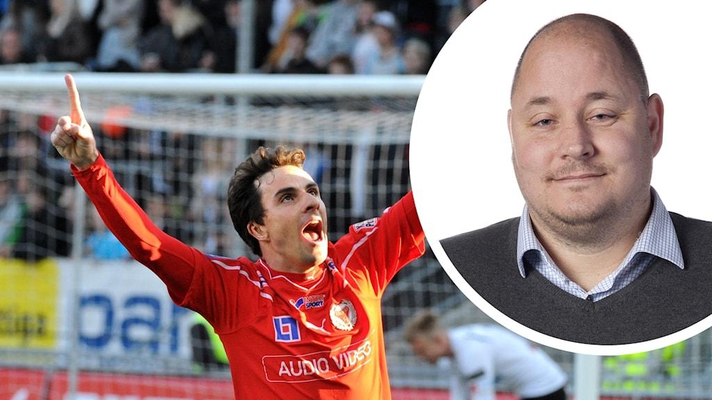 Daniel Mendes jublar och en bild på Mikael Persson.