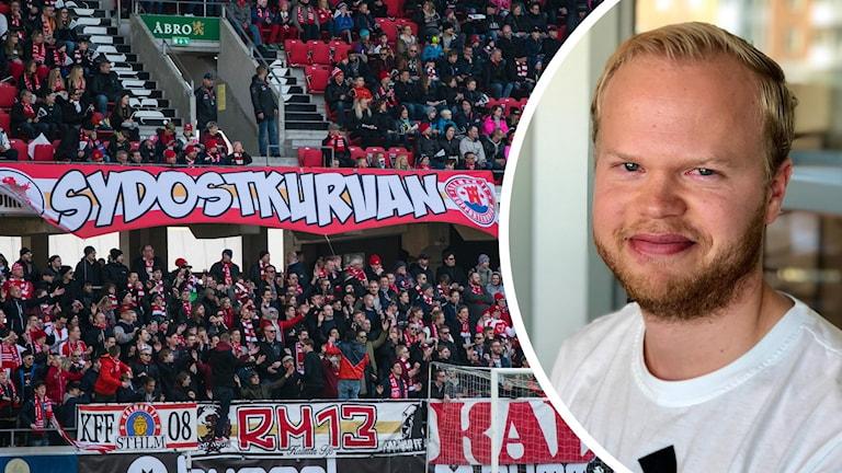 Supportrar och bild på Joakim Persson