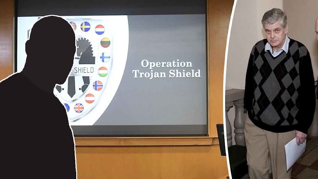 """Montage med en man som blivit dömd för brott, en siluett och en skärm där det står """"Operation Trojan Shield""""."""