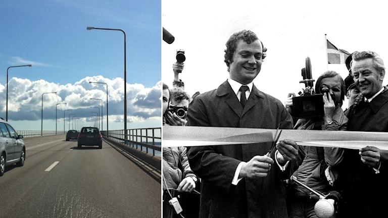 Ölandsbron i dag, bredvid kungen som inviger bron.