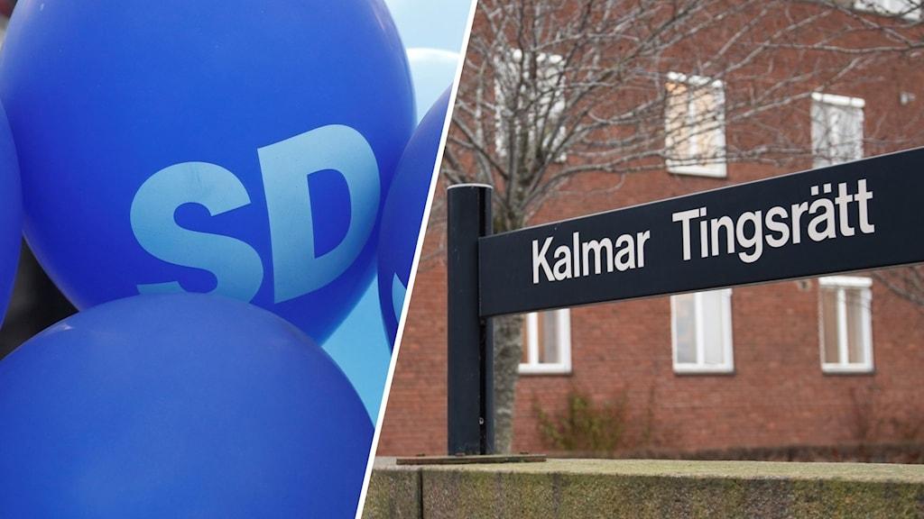En bildsplitt med en ballong som det står SD på och en skylt där det står Kalmar tingsrätt.