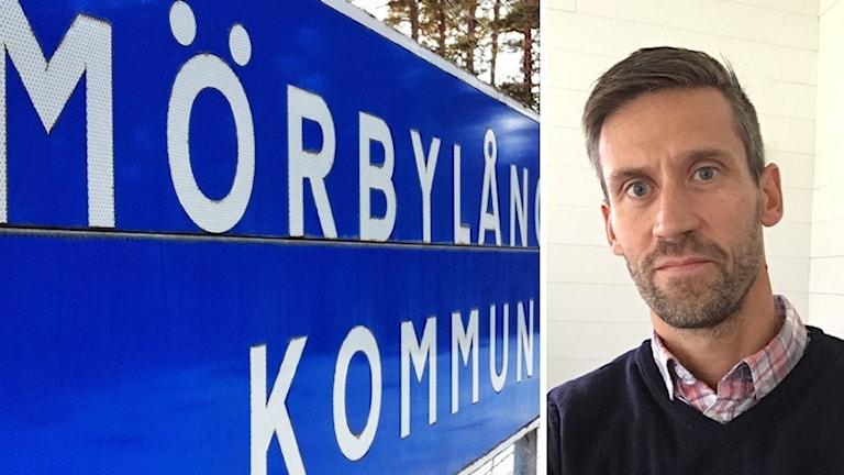 Daniel Jonsson och vägskylt med texten Mörbylånga kommun