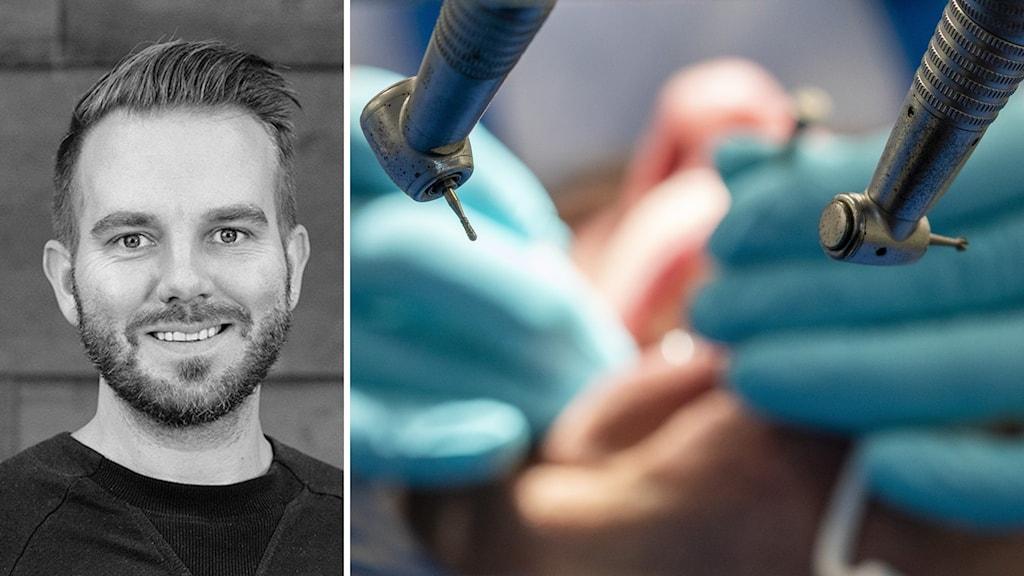 Porträttbild på man och närbild på tandläkarutrustning.