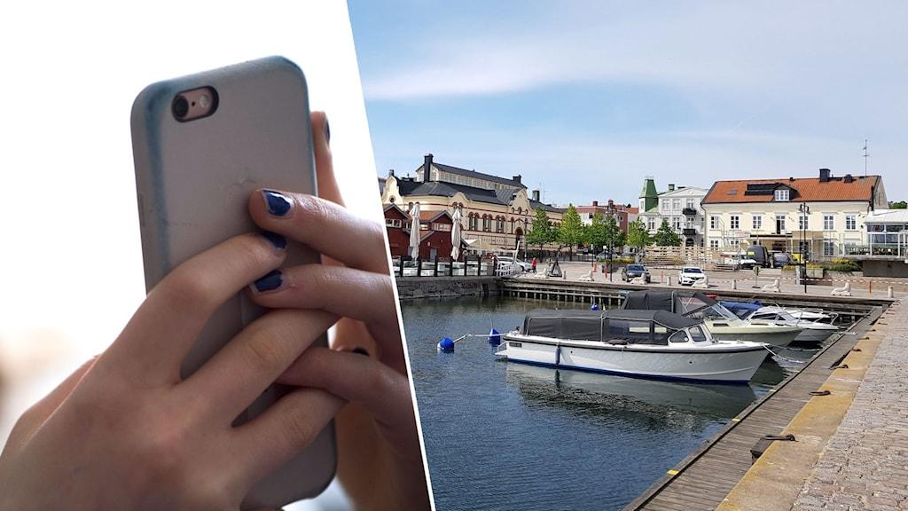 Bildsplit på en mobiltelefon och vy på Västerviks hamn.