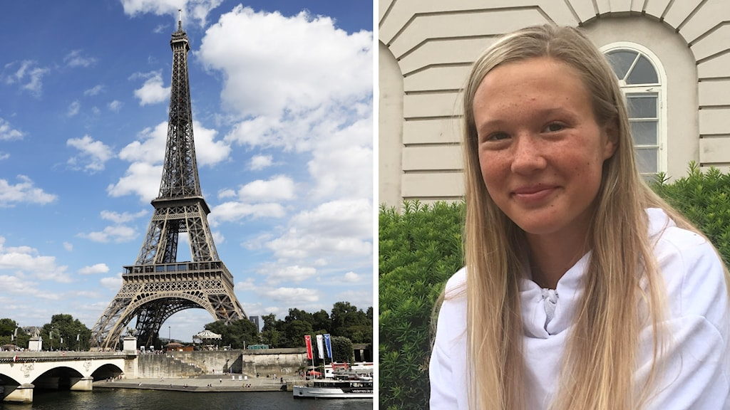 Till vänster Eiffeltornet, till höger en ung kvinna med långt ljust hår.