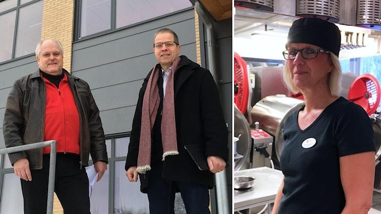 Roger Isberg, Martin Kirschberg och Elinor Hammare vid Torsskolan.