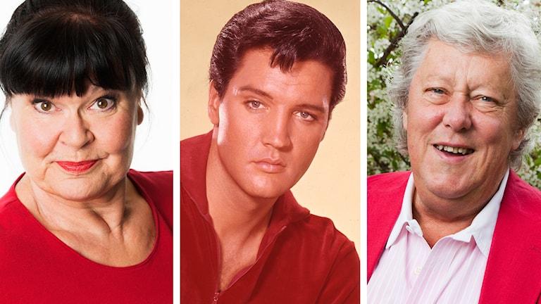 Lisa Syrén, Elvis Presley och Ulf Elfving. Foto: Mattias Ahlm/Sveriges Radio och SVT