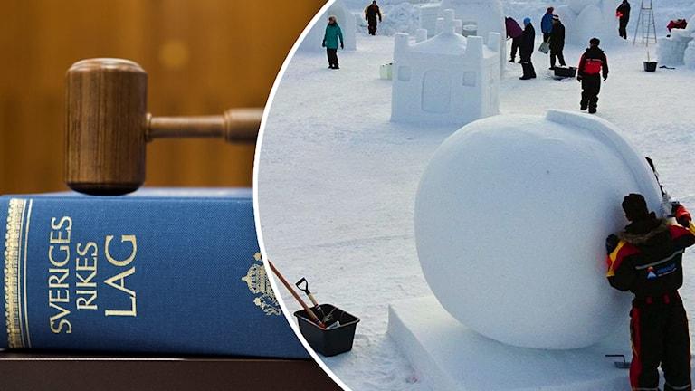Lagbok till vänster och snöskulpturtävling till höger. Montagebild.