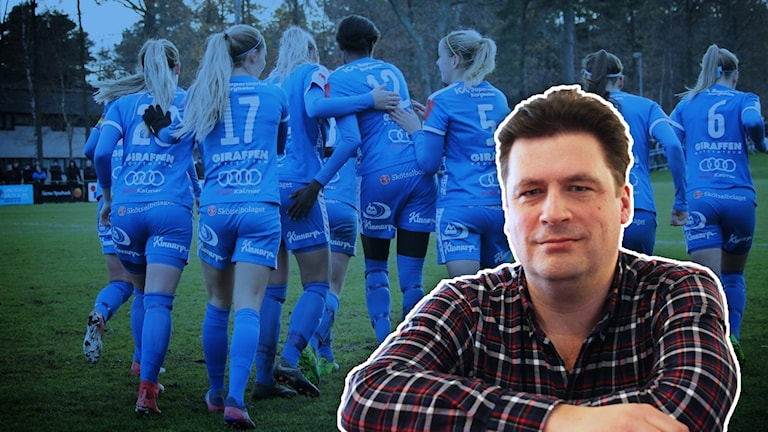 Magnus Krusell framför bild på IFK Kalmar-spelare.