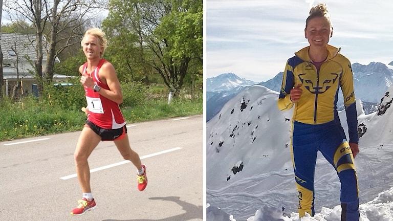 David Nilsson löpandes på landsväg och bild på Ida Nilsson på bergstopp.