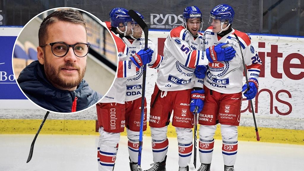 Porträttbild på en person och fyra ishockeyspelare på isen.
