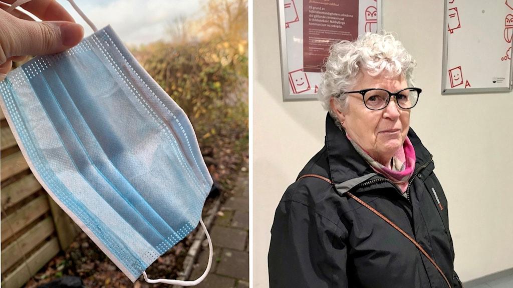 Närbild på munskydd och foto på kvinna framför vägg