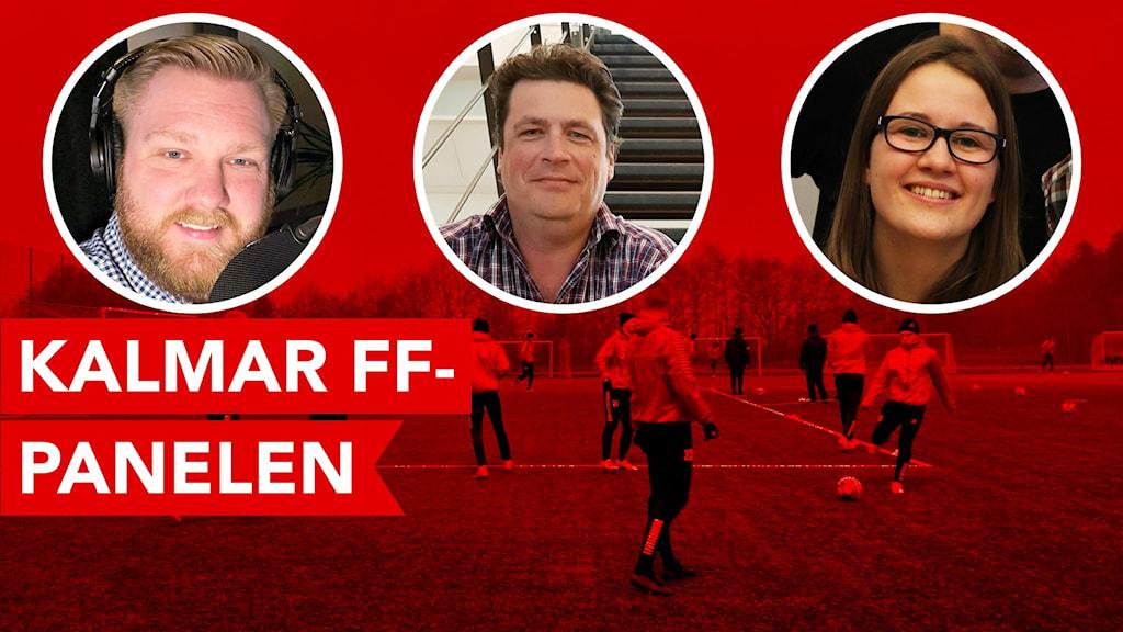 Tre porträttbilder inklippta på en bild från en fotbollsträning.