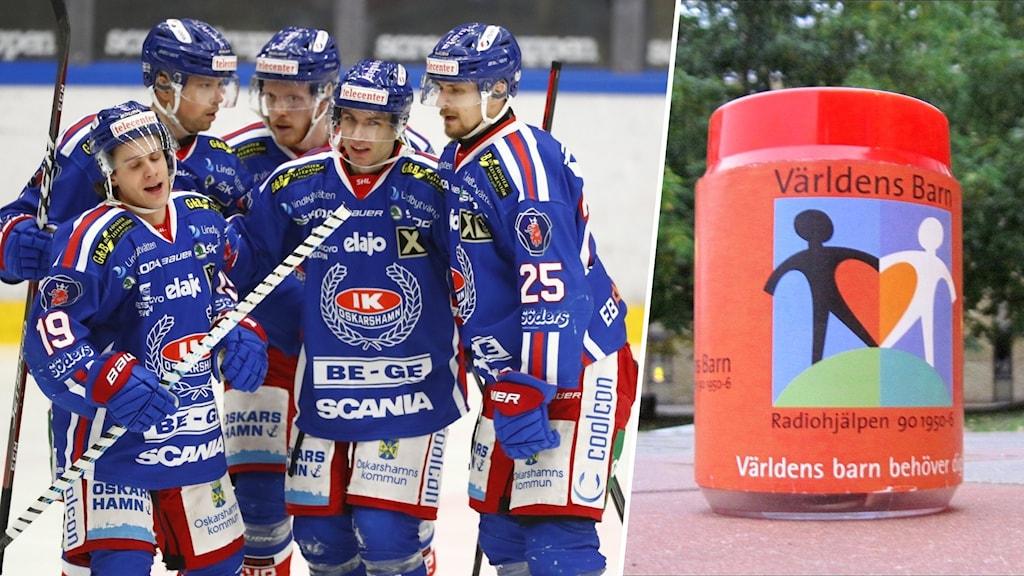 """Ett montage med ett hockeylag som jublar samt en insamlingsbössa som det står """"Världens barn"""" på."""