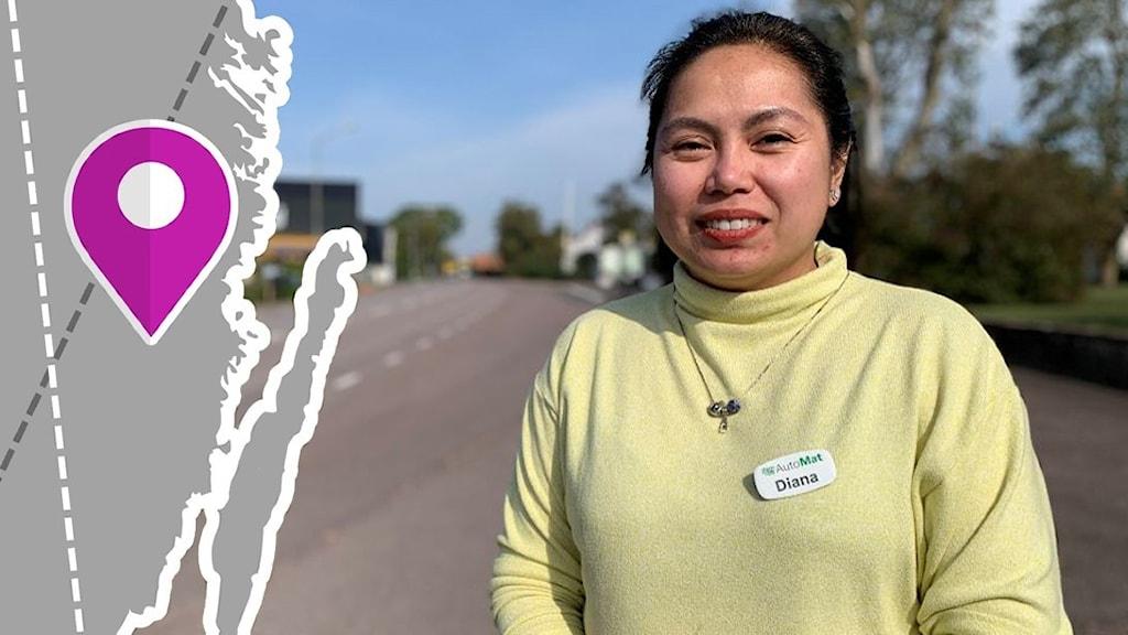 En kvinns i gul tröja tittar mot kameran med en väg i bakgrunden.
